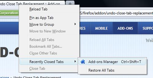 Firefox: ripristinare le schede chiuse