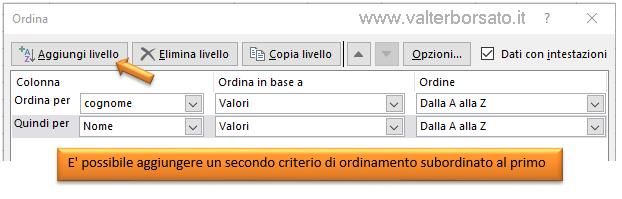 Excel_database_aggiungere_secondo_livello_ordinamento_dati